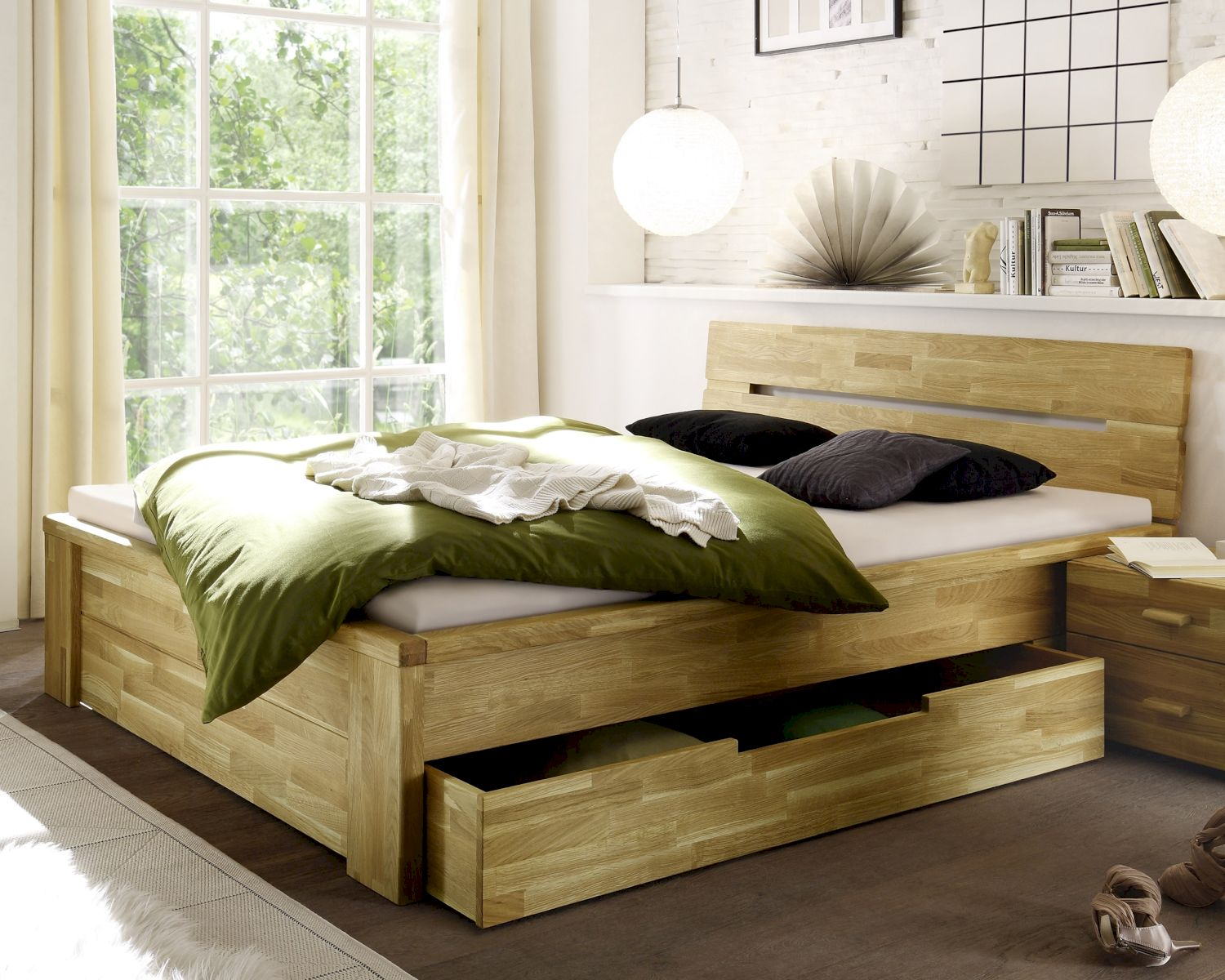 woodlive bett cassetta mit schublade wildeiche. Black Bedroom Furniture Sets. Home Design Ideas