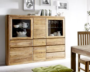 3S Frankenmöbel Sheesham Massivholz Highboard wide New York Artikelbild 6